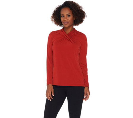 Susan Graver Liquid Knit Top with Twisted Neckline