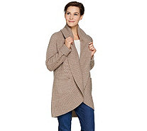 Isaac Mizrahi Live! 2-Ply Cashmere Mixed Stitch Cardigan - A281339