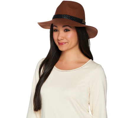 C. Wonder Wool Felt Fedora with Leather Braid Trim