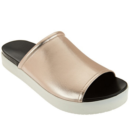 """As Is"" H by Halston Leather Slide-On Platform Shoes - Martha"