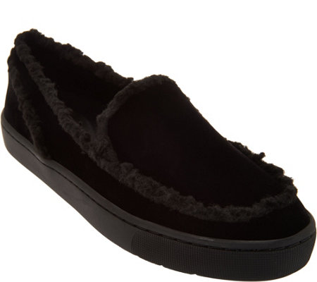 LOGO by Lori Goldstein Slip On Loafers with Shearling Trim