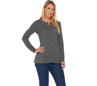 Isaac Mizrahi Live! Long Sleeve Button Front Peplum Cardigan - A284339