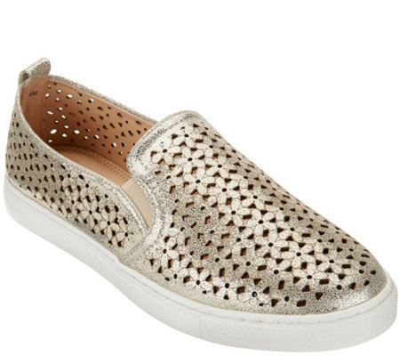 """As Is"" Isaac Mizrahi Live! SOHO Leather Perforated Sneakers"
