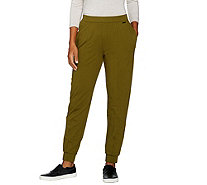 H by Halston Regular French Terry Jogger Pants w/ Seam Details - A286439