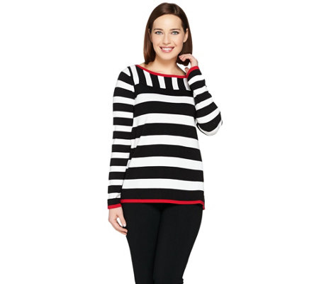 Susan Graver Striped Bateau Neck Sweater