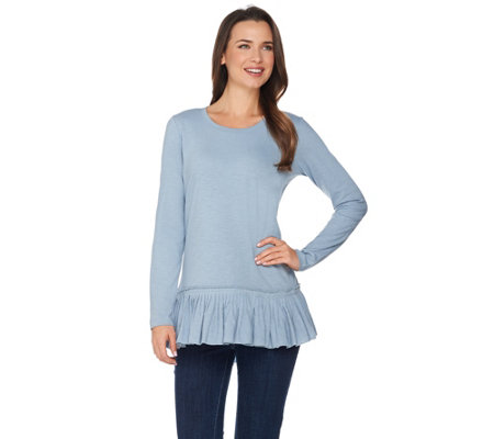 LOGO by Lori Goldstein Cotton Slub Knit Top with Pleated Hem