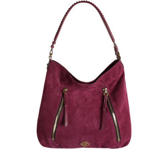 """As Is"" orYANY Italian Suede Hobo with Zipper Details- Laurie - A288939"