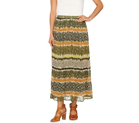 """As Is"" Denim & Co. Printed Crinkle Gauze Maxi Skirt"
