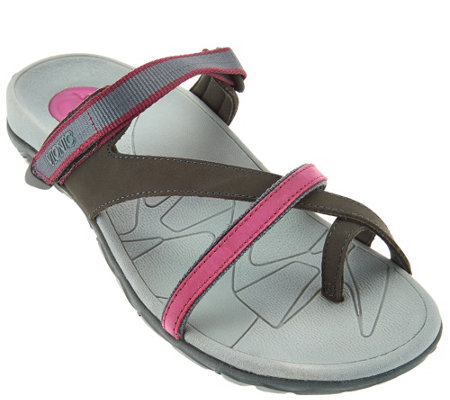 """As Is"" Vionic Orthotic Leather Sport Sandals - Mojave"