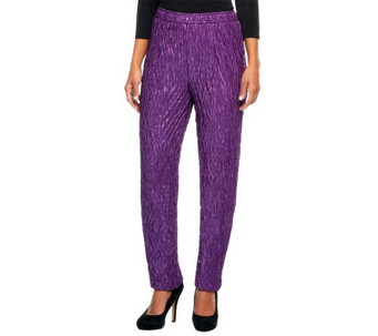 """As Is"" Bob Mackie's Crinkled Lurex Slim Leg Knit Pants w/Elastic - A291439"