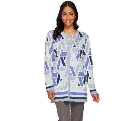 """As Is"" Isaac Mizrahi Live! Geometric Jacquard Sweater Coat"