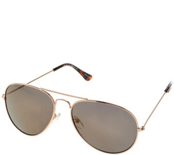 """As Is"" C. Wonder Aviator Frame Sunglasses with Mirror Lens - A292039"