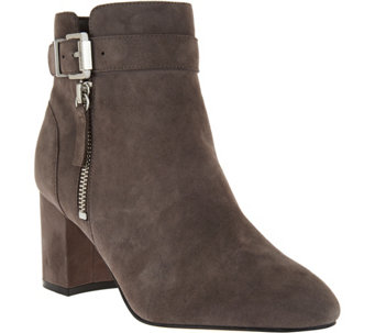 """As Is"" Marc Fisher Suede Buckle Ankle Boots - Wynie - A293039"