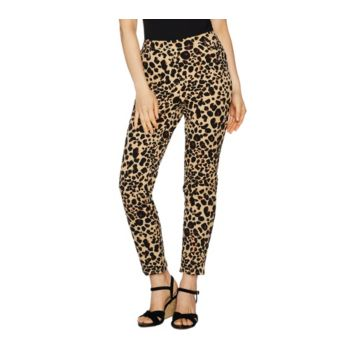 Isaac Mizrahi Live! 24/7 Stretch Leopard Print Ankle Pants