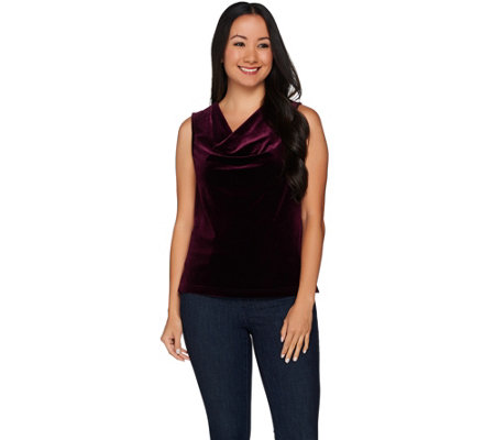 """As Is"" Velvet Deluxe Drape- Neck Tank by VT Luxe"