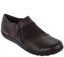 Clarks Leather Side Zip Shoes - Medora Gale - A296339