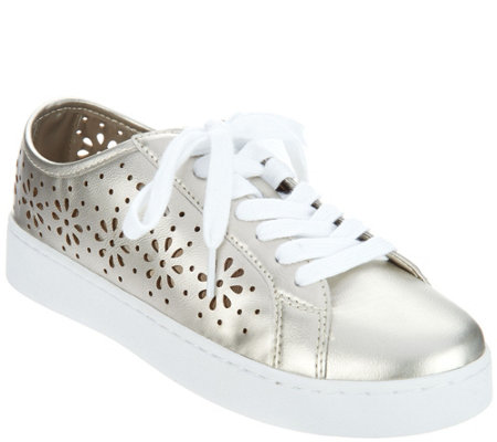 """As Is"" Isaac Mizrahi Live! SOHO Lace-Up Floral Sneakers"