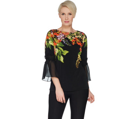 Susan Graver Printed Liquid Knit Top with Smocked Sheer Chiffon Sleeves