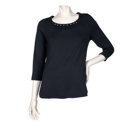 Bradley by Bradley Bayou Knit Tunic with Metal Ball Trim