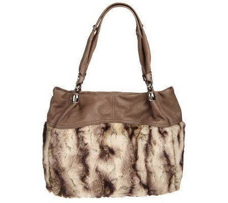 B. Makowsky Faux Fur and Leather Tote Bag