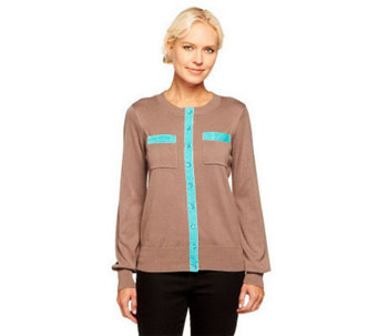 Linea by Louis Dell'Olio Crew Neck Cardigan with Velvet Trim - A228340