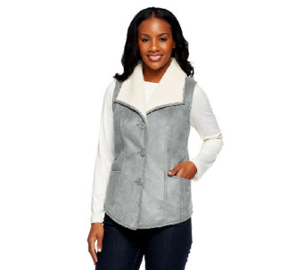 Denim & Co. Faux Suede Vest with Wide Collar & Sherpa Lining - A230140