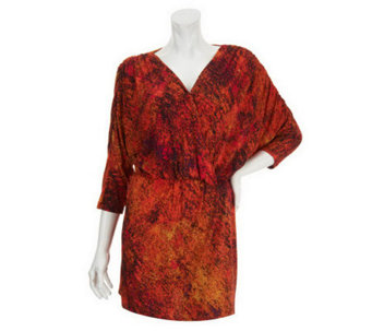 Kris Jenner Kollection All Over Print Elastic Waist V-Neck Tunic - A232540