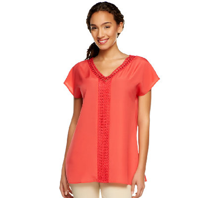 Isaac Mizrahi Live! Lace Trim Short Sleeve Top