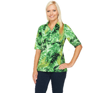 Susan Graver Weekend Printed Cotton Spandex Elbow Sleeve Polo Shirt - A233840