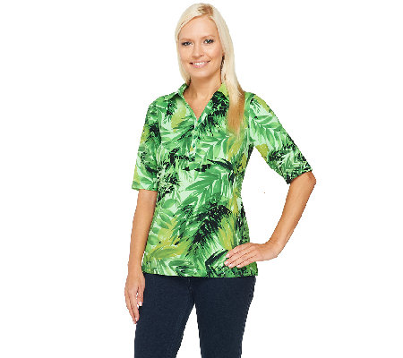 Susan Graver Weekend Printed Cotton Spandex Elbow Sleeve Polo Shirt