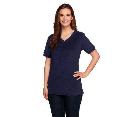 Denim & Co. Essentials Short Sleeve V-neck Knit Terry Top