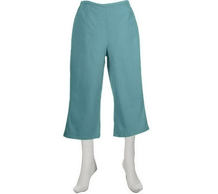 """As Is"" Denim & Co. Classic Waist Stretch Capri Pants w/ Pockets"