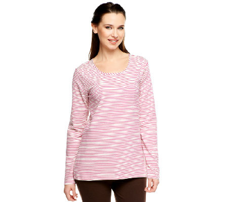 Denim & Co. Scoop Neck Long Sleeve Striped Knit Top