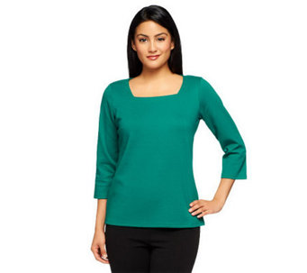 Joan Rivers Wardrobe Builders 3/4 Sleeve Square Neck Top - A238740