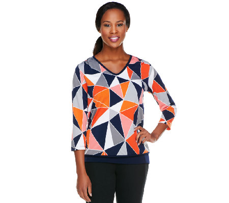 Susan Graver Liquid Knit 3/4 Sleeve Printed V-Neck Top