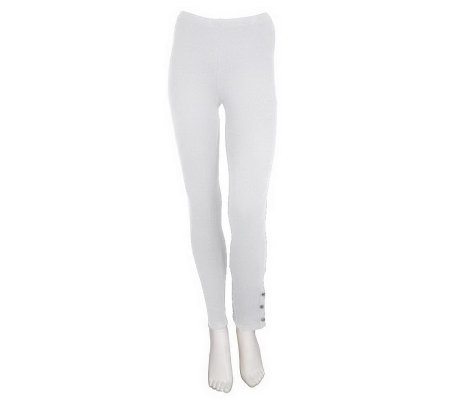 """As Is"" Susan Graver Stretch Cotton 26-1/2"" Petite Leggings w/ Stud Detail"