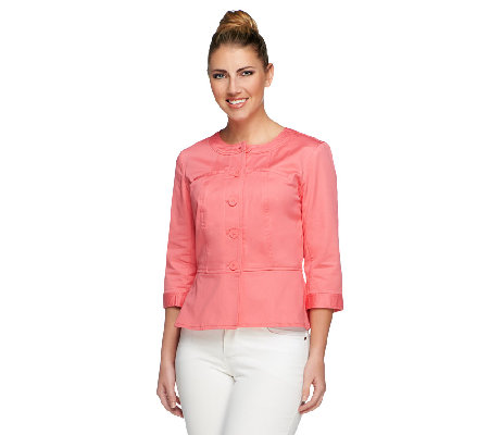 Joan Rivers Peplum Jacket with 3/4 Sleeves