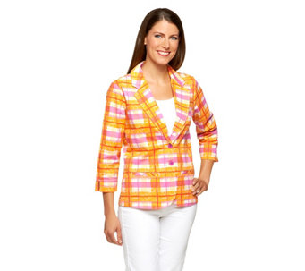 Liz Claiborne New York 3/4 Sleeve Plaid Print Blazer - A253240