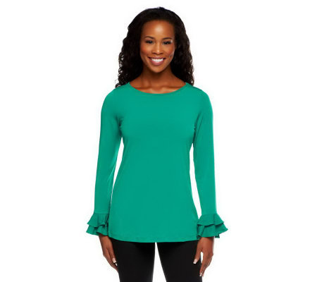 """As Is"" Susan Graver Liquid Knit Bateau Neck Long Sleeve Top"