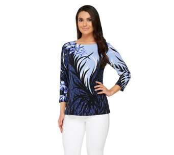 Bob Mackie's Tropical Shade Print Jersey Knit Pullover 3/4 Sleeve Top - A254140