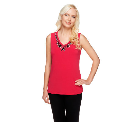 Susan Graver Liquid Knit Embellished V-Neck Tank Top