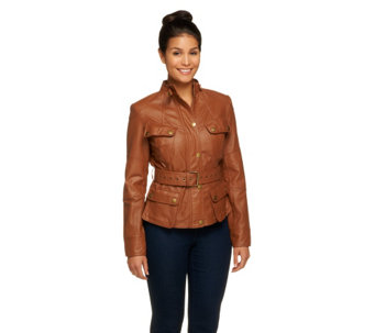 G.I.L.I. Perforated Leather Jacket with Belt - A256240