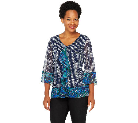 Isaac Mizrahi Live! Mixed Print 3/4 Sleeve Top