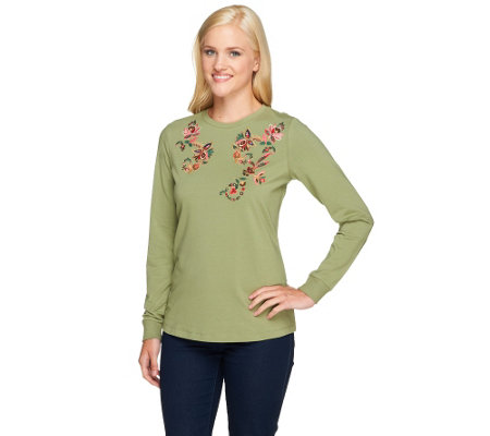 Denim & Co. Perfect Jersey Long Sleeve Top with Floral Embroidery