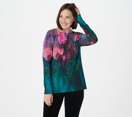 Bob Mackie's Watercolor Print Pullover Top