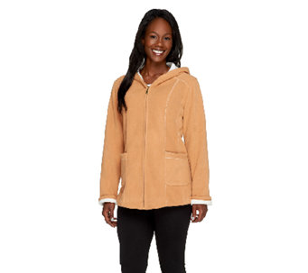 Susan Graver Bonded Fleece Zip Front Hooded Jacket - A258640