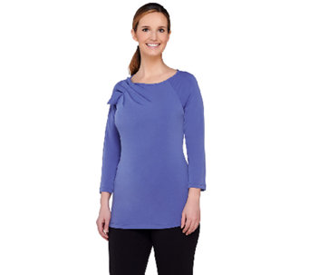George Simonton 3/4 Sleeve Milky Knit Top with Pleated Shoulder Detail - A262240