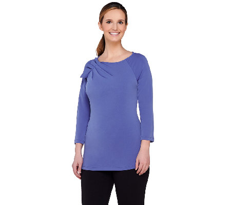 George Simonton 3/4 Sleeve Milky Knit Top with Pleated Shoulder Detail