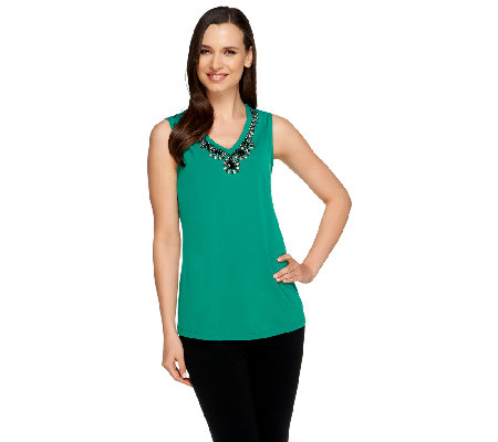 """As Is"" Susan Graver Liquid Knit Embellished V-Neck Tank Top"