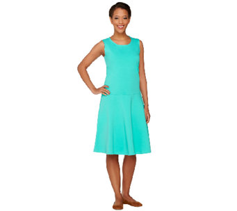 Denim & Co. Perfect Jersey Sleeveless Drop Waist Dress - A265640